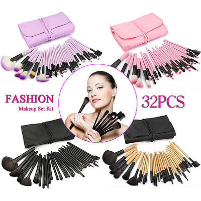 Professional 32pcs/10pcs Soft Cosmetic Eyebrow Shadow Makeup Brush Set Kit Pouch