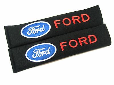 2 x Seat Belt Cover Shoulder Pads for FORD Focus Fiesta Fusion Embroidered Logo