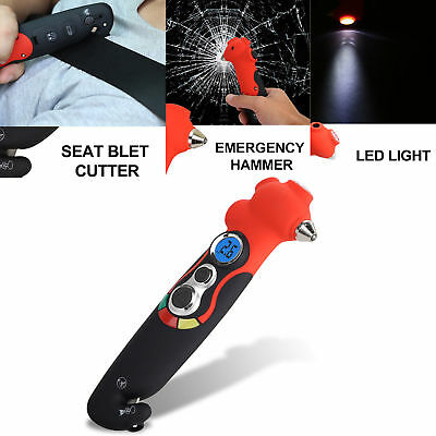 8 in 1 Safety Glass Window Breaking Hammer Emergency Seat Belt Cutter Tire Gauge