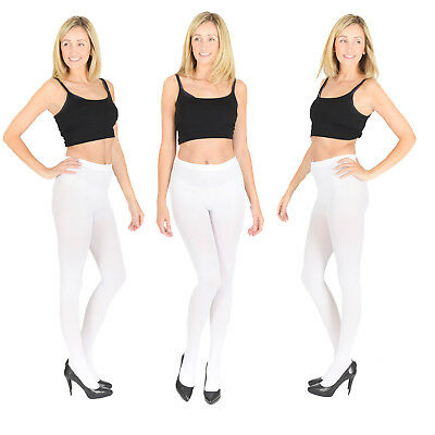Opaque WHITE Tights, Extra Thick 40, 60, 100 Denier, Womens Ladies S M L XL V1