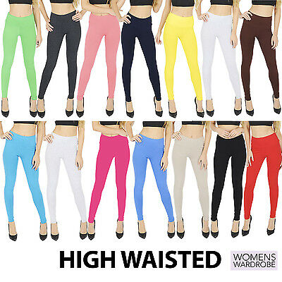 Womens High Waisted Cotton Leggings Full Length NOT SEE THROUGH V1