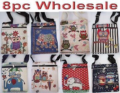 8pc Wholesale Owl Elephant Long Casual Crossbody Bag Women Girl Handbag Mixed