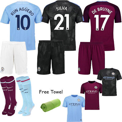 17-18 Football Kits NEYMAR 10 Soccer Short Sleeve Jersey 3-14Y Boys Kids+Socks