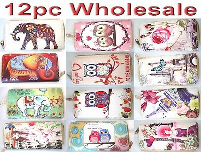 12pc Wholesale Women Girl Owl PU Leather Purse Wallet Card Phone Holder Mixed