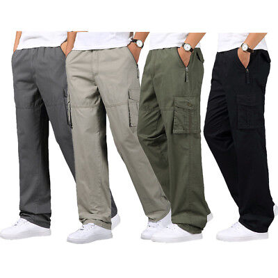 Mens Cotton Army Trousers Cargo Combat Stylish Fleece Lined Work Pants L-5XL