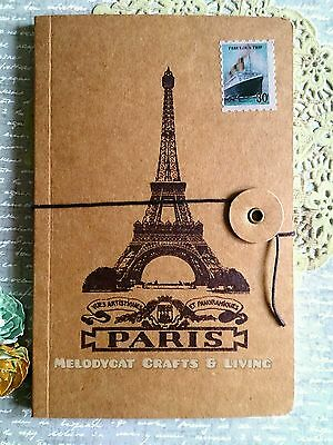 Vintage Diary Travel Journal Notebook String& Button Fastener Eiffel Tower Paris