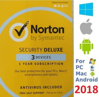 NEW Norton SECURITY DELUXE 2017 3 Devices AntiVirus for Windows Mac Android iOS