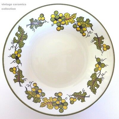 1970s RIDGWAY Vintage White Ironstone Biscuit Dish Green Trim Autumn Leaves