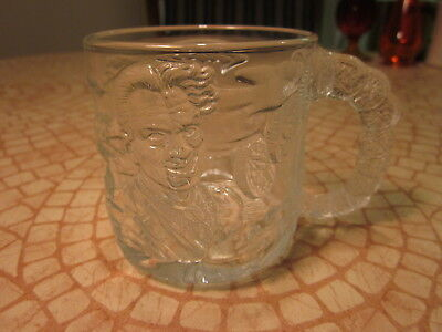 BATMAN FOREVER Two Face DC Comics Embossed McDonald's Glass Mug 1995 France