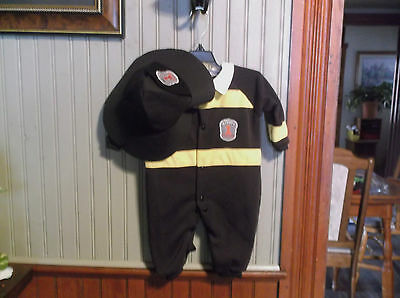 Newborn Firechief  Halloween Costume Button Romper And Hat New