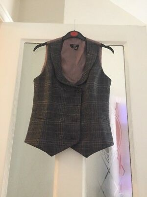 Pre-owned Ted Baker Ladies Double Breasted Wool Waistcoat Size 2