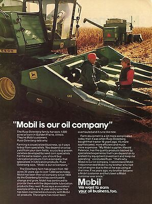 1981 Mobil Oil w 15yr Old John Deere Combine 6600 Farm Tractor Print Ad