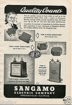1948 Print Ad of Sangamo Electric Co Capacitors Quality Counts