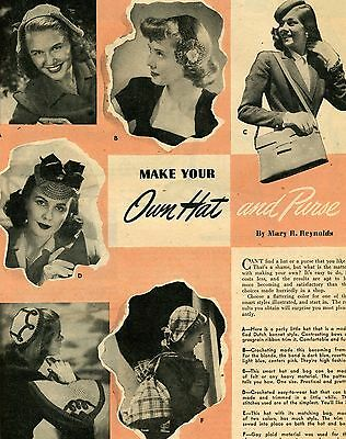 1944 Make Your Own Hat and Purse Fashion Magazine Print Article