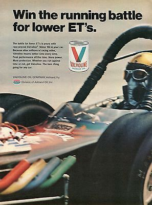 1971 Valvoline Motor Oil Win The Battle for Lower ET's T/F Dragster Print Ad.