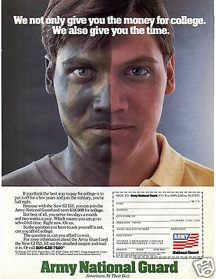 1986 Army National Guard Recruiting Print Ad