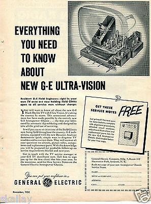 1952 Print Ad of General Electric GE Black Daylite TV with Ultra Vision