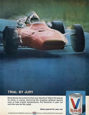 1970 Valvoline Motor Oil Indy Car Trial By Jury Print Ad