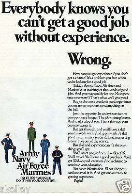 1978 Print Ad of Army Navy Air Force Marines Recruiting