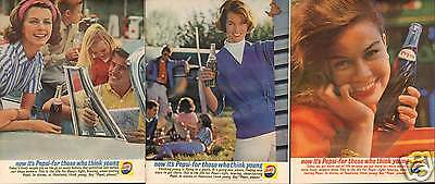 """1961 Pepsi Cola """"for those who think young"""" 3 Different LARGE Print Ads"""
