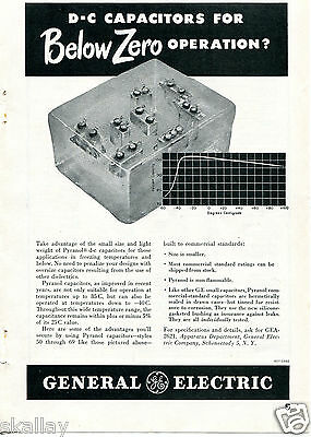 1948 Print Ad of GE General Electric Pyranol D-C Capacitors for Below Zero