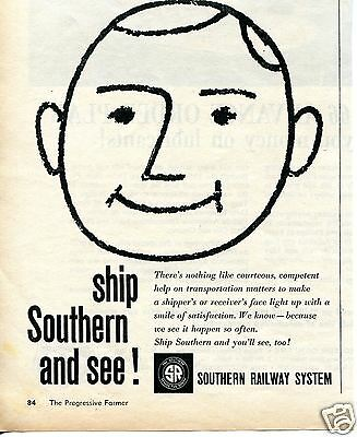 1959 Southern Railway System Print Ad Ship Southern and see!