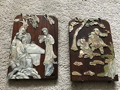 Very unique and rare two mahogany wood and pearl Chinese pictures