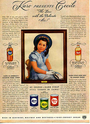 """1941 Karo Syrup """"Lass"""" Cecile Dionne Quintuplets Print Ad"""