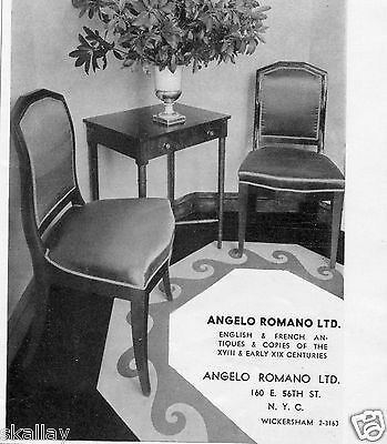1937 small Print Ad of Angelo Romano LTD English & French Antiques