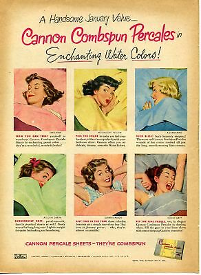 1951 Cannon Combspun Percale Pastel Color Sheet Print Ad
