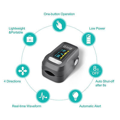 Portable Pulse Oximeter Fingertip Accurate Blood Oxygen Meter w OLED Display