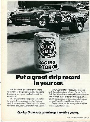 1975 Quaker State Racing Oil Jungle Jim Put A Great Strip Record In Your Car Ad