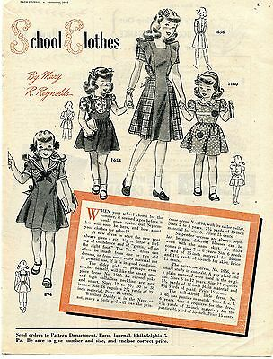 1945 School Clothes Pattern By Mary R Reynolds Sailor Princess & Summer Dress Ad