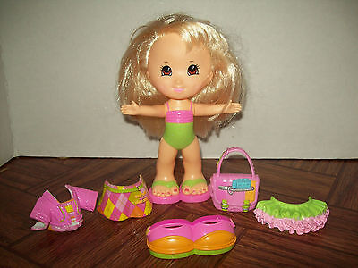 Fisher Price Snap n Style Blonde Brown Eye Doll + Outfits Preschool Pretend Play