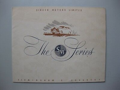 Singer SM Roadster 1500 prestige brochure Prospekt English language 1951