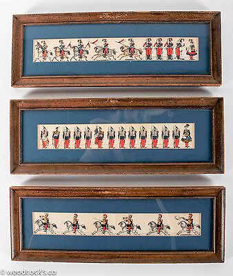 Three Antique Framed Illustrations of French Soldiers
