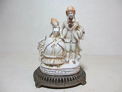 Old Metal Lamp Base: 300 C&S NY Porcelain Double Figurine Attached No Wiring