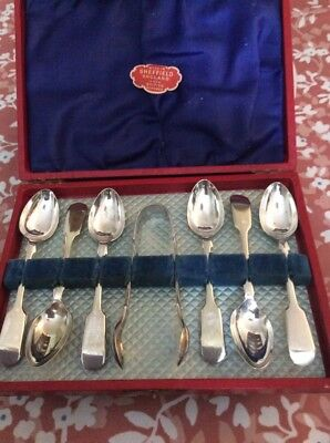 Boxed Set Of Silver Plate Vintage Tea Spoons And Matching Sugar Tongs