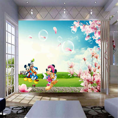 Cute Mickey Mouse 3D Full Wall Mural Photo Wallpaper Printing Home Kids Decor