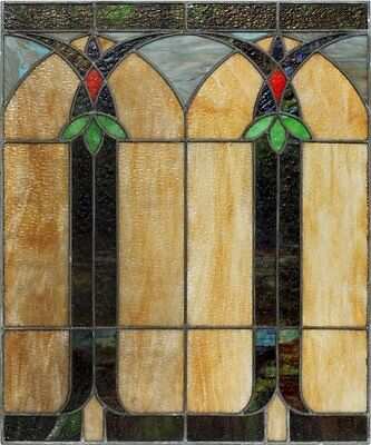 Large antique 1930s art deco leaded / stained glass