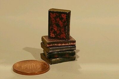 dolls house miniature vintage style job lot of 5 Aged books with print sale!!!