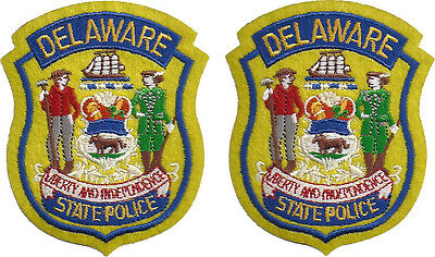 """Hat Size Delaware State Police Patches - Pair - 3""""T by 2 1/2""""W - NEW"""