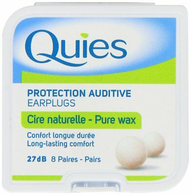Quies Pure Natural Wax Ear Plugs Protection 8 pairs noise reduction (x3 Boxes)