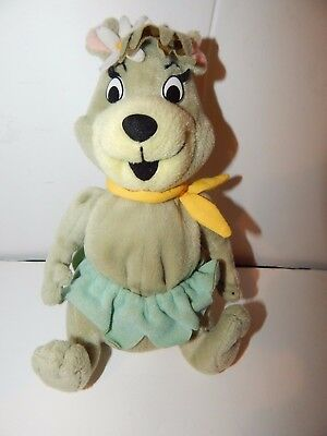 "Yogi Bear Girlfriend CINDY BEAR PLUSH BEANIE 8"" Hanna Barbera Stuffed Animal"