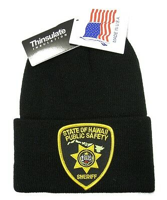 Hawaii Public Safety Sheriff Patch Knit Cap - 40g Thinsulate Insulation - Black