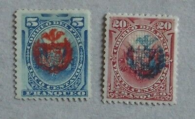 Perou 1882 Occupation Chilienne - Surcharge Armoiries Du Chili - Lot 10 Timbres