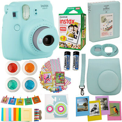 Fujifilm Instax Mini 9 Instant Camera Ice Blue + 20 Sheet Fuji Film Acc Bundle