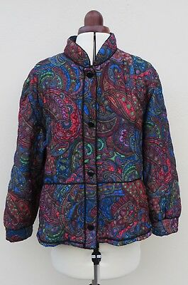 Vintage handmade quilted paisley print jacket,size approx.16/18