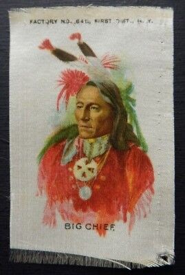 BIG CHIEF Numbered INDIAN PORTRAITS 1910 American Tobacco SILK