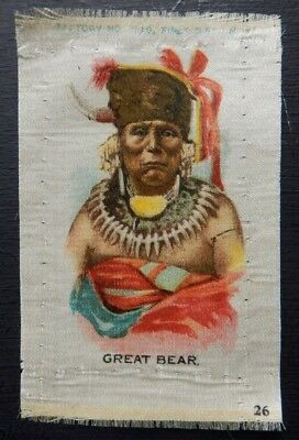 GREAT BEAR Numbered INDIAN PORTRAITS 1910 American Tobacco SILK